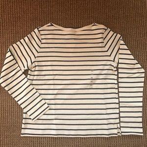 Uniqlo women's striped boat neck long sleeve tee